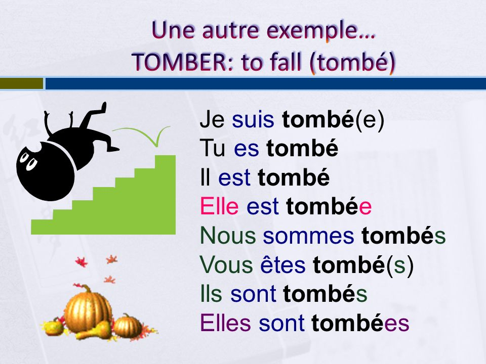 Une autre exemple… TOMBER: to fall (tombé)