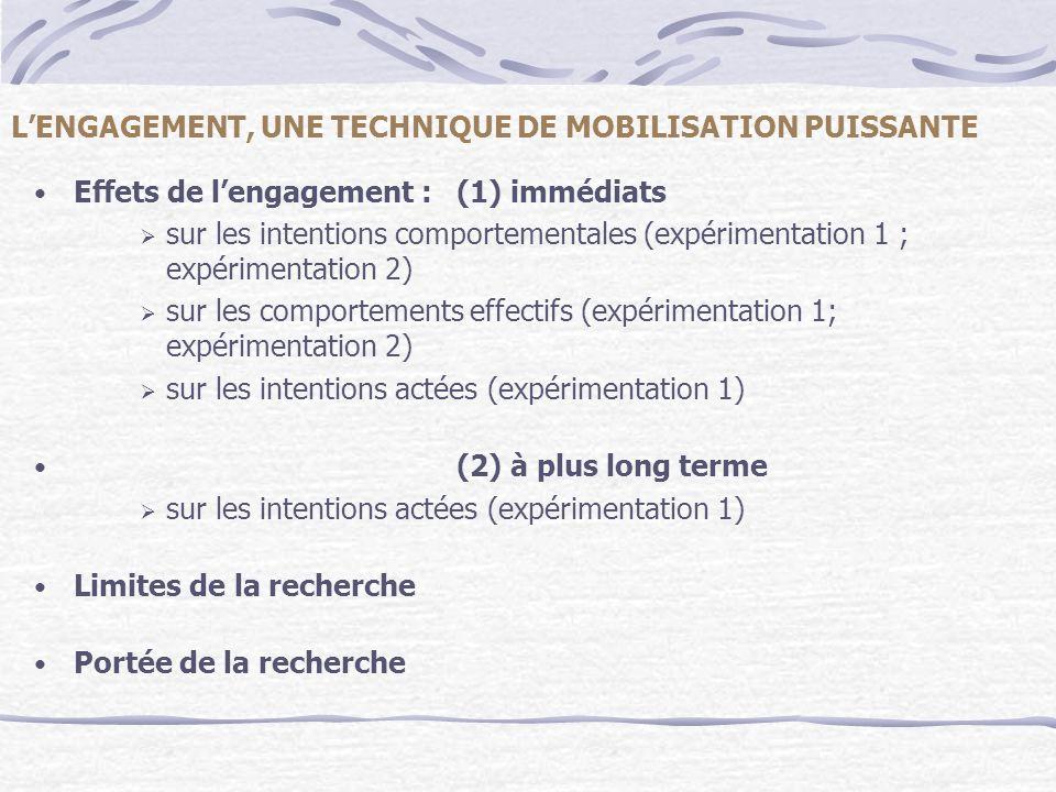L'ENGAGEMENT, UNE TECHNIQUE DE MOBILISATION PUISSANTE