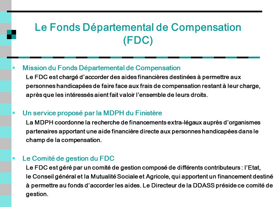 Le Fonds Départemental de Compensation (FDC)