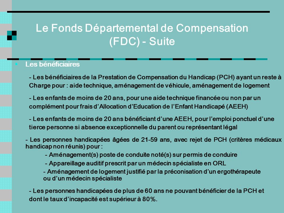 Le Fonds Départemental de Compensation (FDC) - Suite
