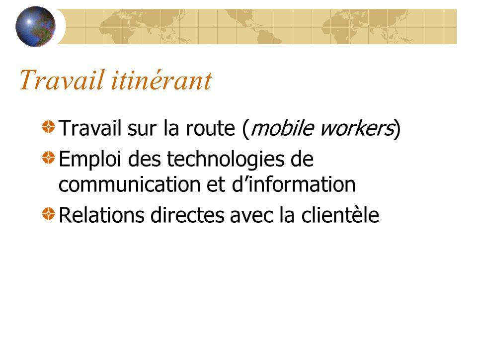 Travail itinérant Travail sur la route (mobile workers)