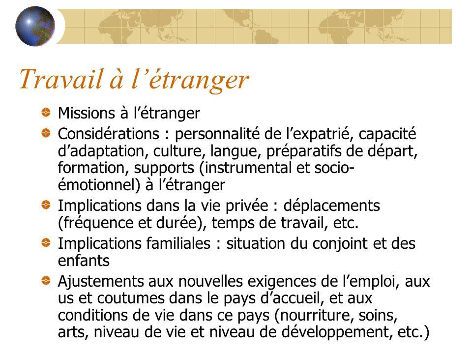 Travail à l'étranger Missions à l'étranger