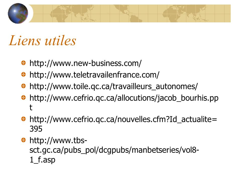 Liens utiles http://www.new-business.com/