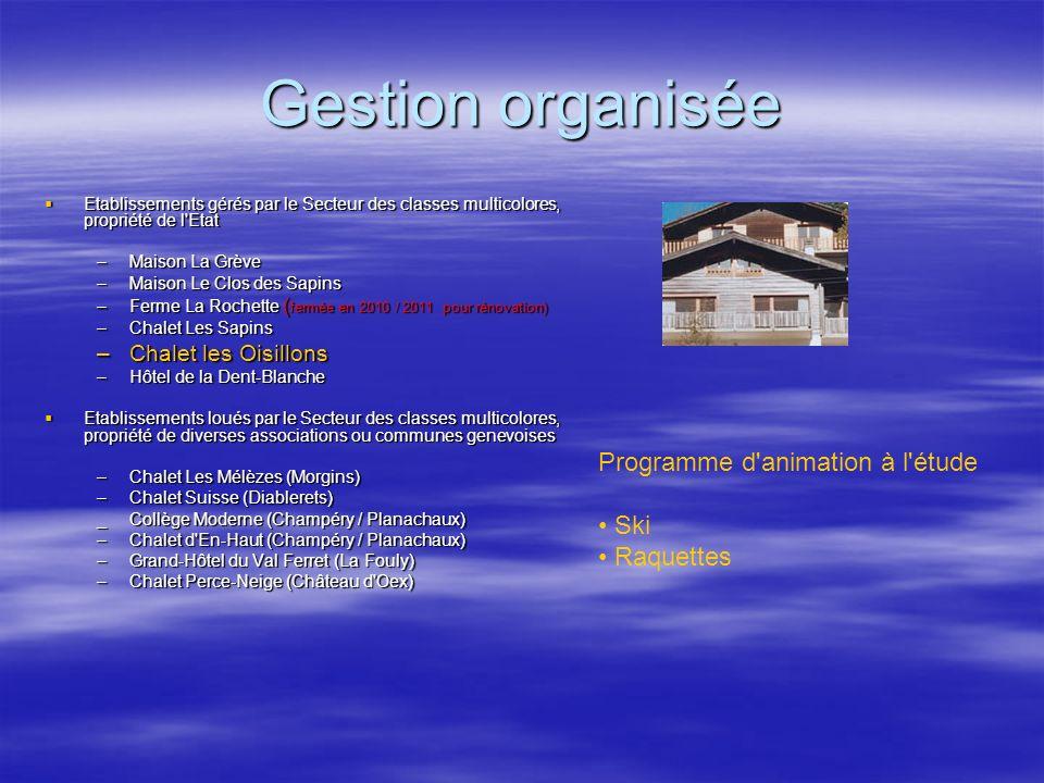 Gestion organisée Programme d animation à l étude Ski Raquettes