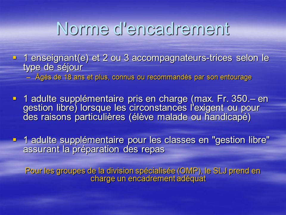 Norme d encadrement 1 enseignant(e) et 2 ou 3 accompagnateurs-trices selon le type de séjour.