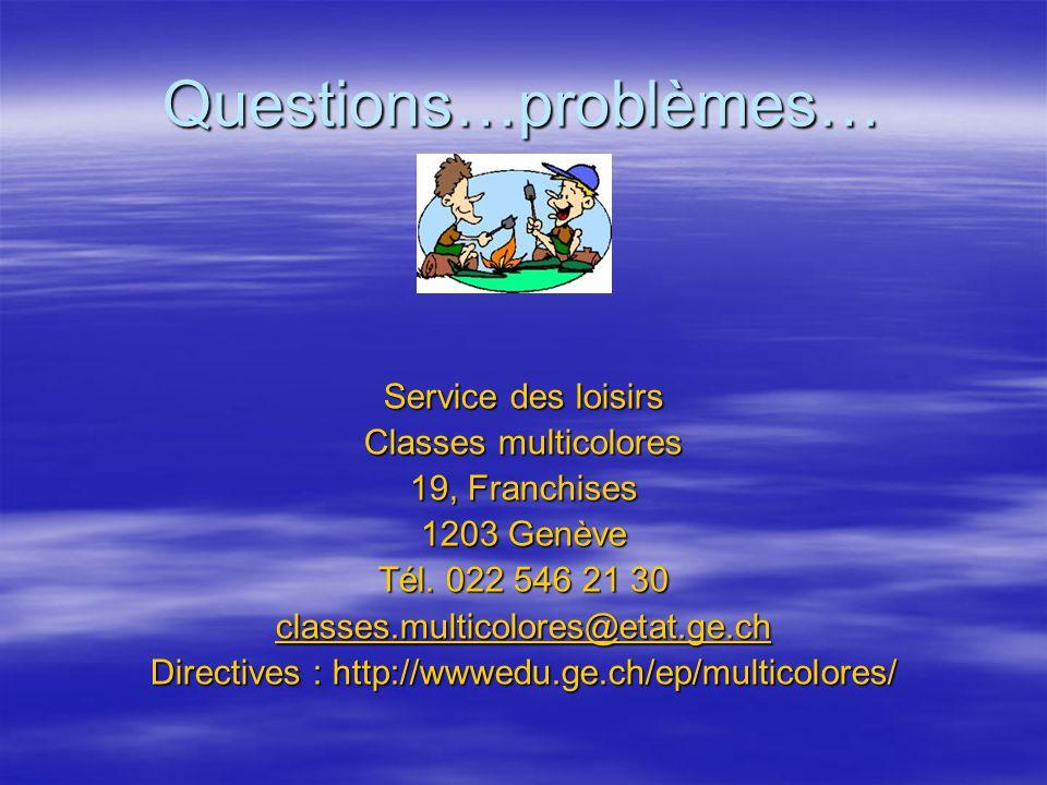Questions…problèmes…