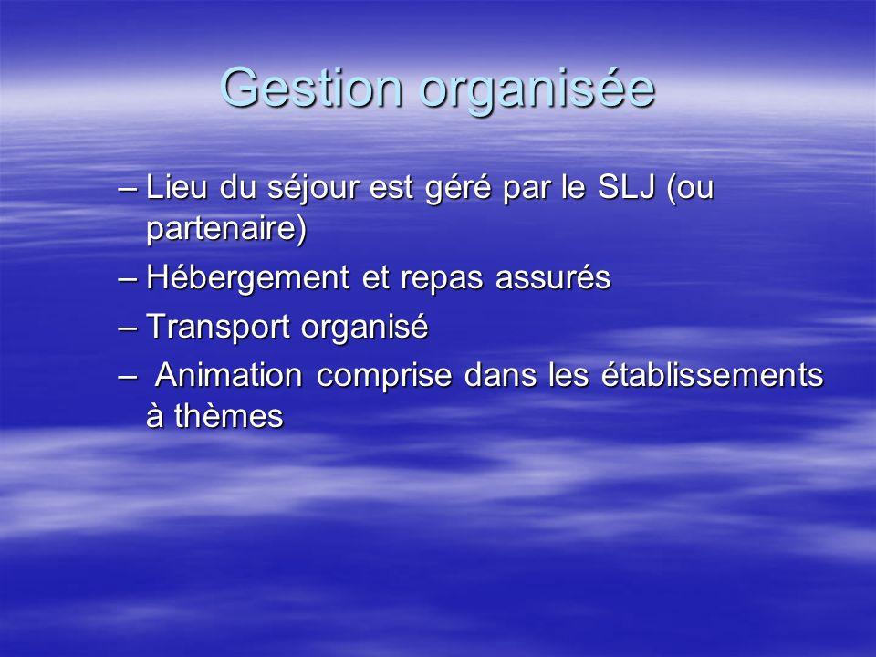 Gestion organisée Lieu du séjour est géré par le SLJ (ou partenaire)