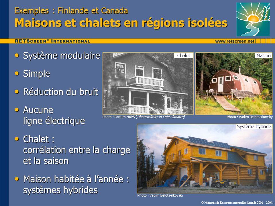 Exemples : Finlande et Canada Maisons et chalets en régions isolées