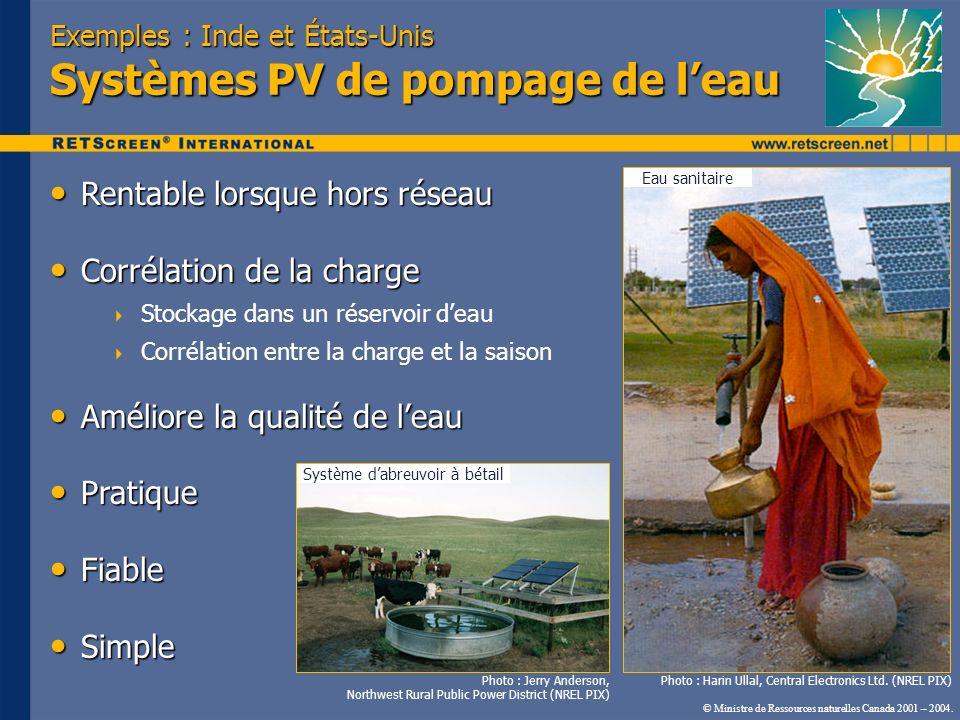 Exemples : Inde et États-Unis Systèmes PV de pompage de l'eau