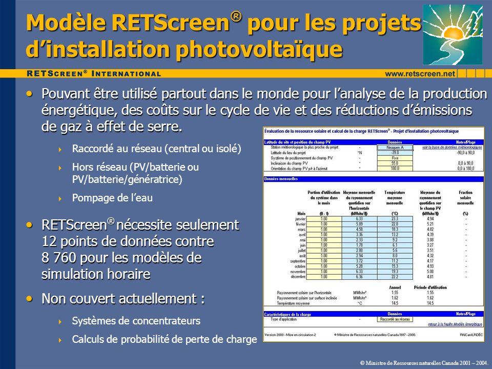Modèle RETScreen® pour les projets d'installation photovoltaïque