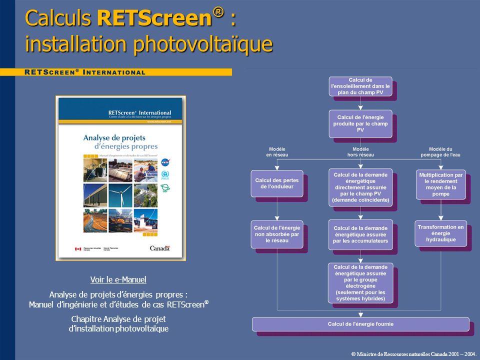 Calculs RETScreen® : installation photovoltaïque