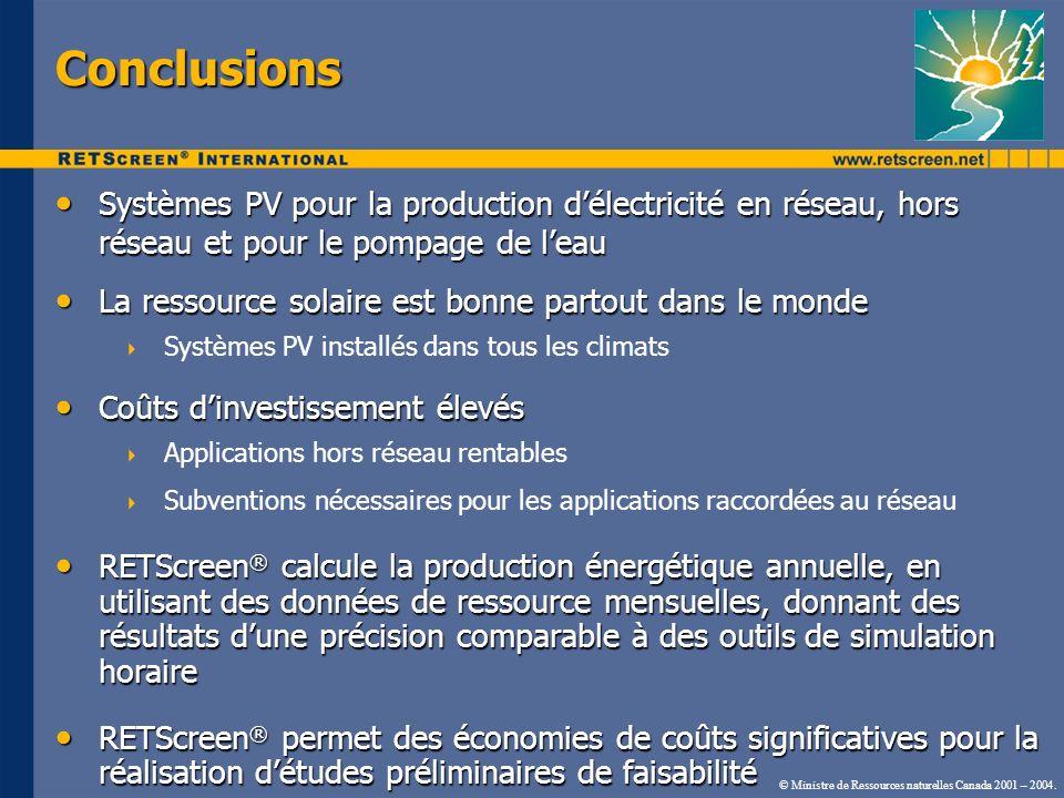 Conclusions Systèmes PV pour la production d'électricité en réseau, hors réseau et pour le pompage de l'eau.