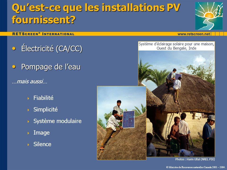 Qu'est-ce que les installations PV fournissent