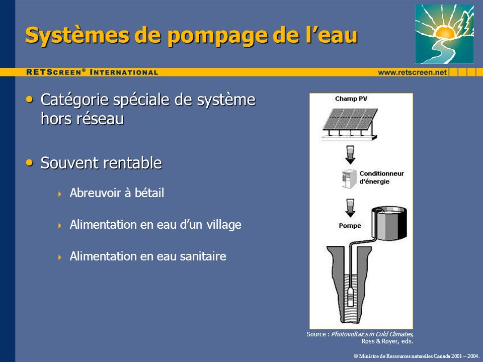 Systèmes de pompage de l'eau