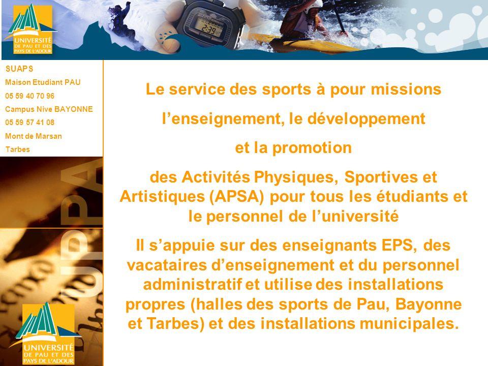 Le service des sports à pour missions l'enseignement, le développement
