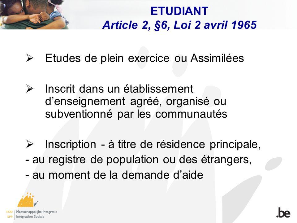 ETUDIANT Article 2, §6, Loi 2 avril 1965