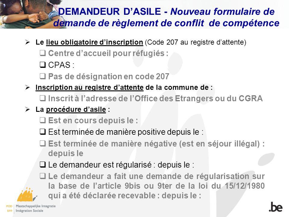 DEMANDEUR D'ASILE - Nouveau formulaire de demande de règlement de conflit de compétence