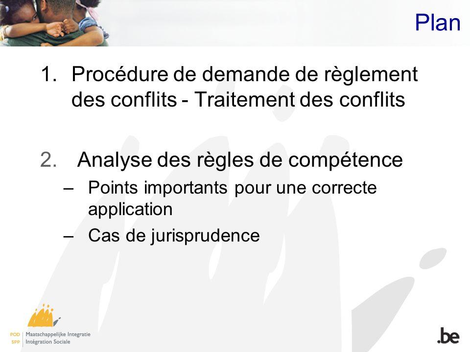 Plan Procédure de demande de règlement des conflits - Traitement des conflits. Analyse des règles de compétence.