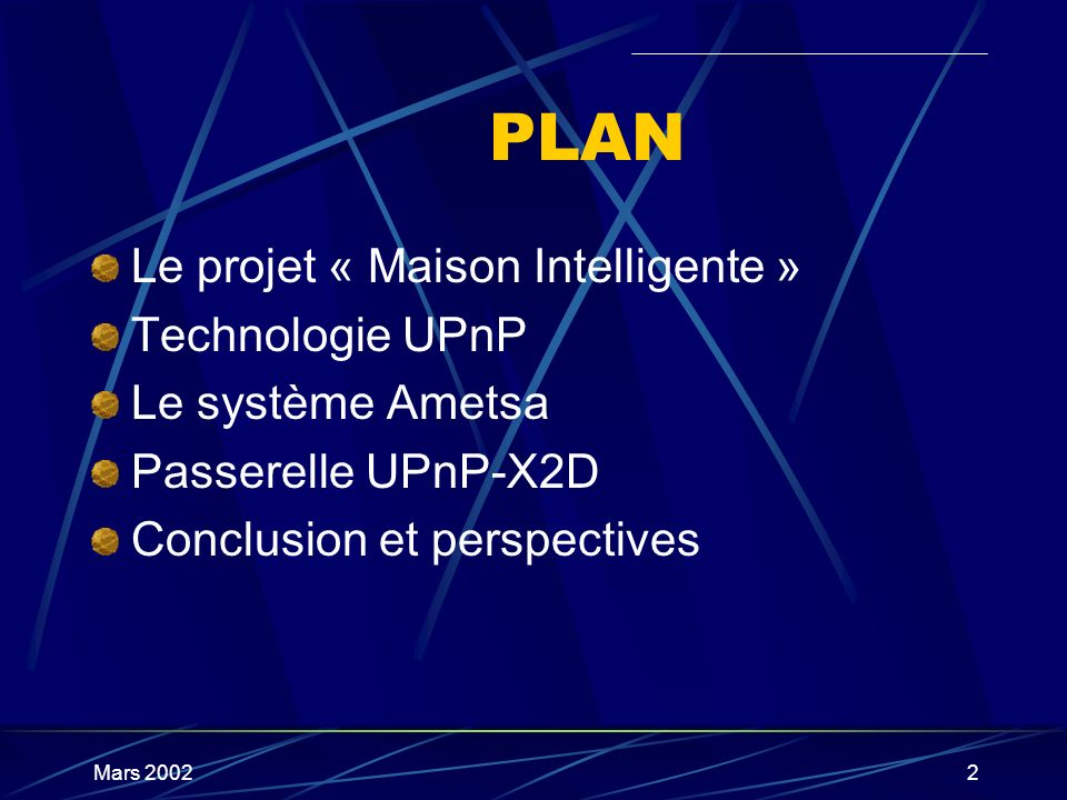 PLAN Le projet « Maison Intelligente » Technologie UPnP