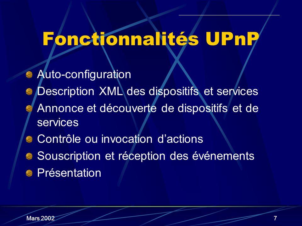 Fonctionnalités UPnP Auto-configuration