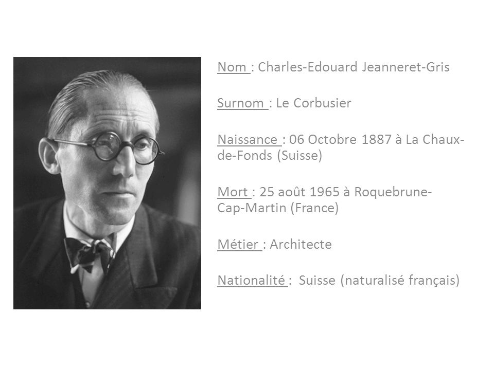 Nom : Charles-Edouard Jeanneret-Gris