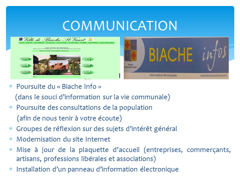 COMMUNICATION Poursuite du « Biache Info »