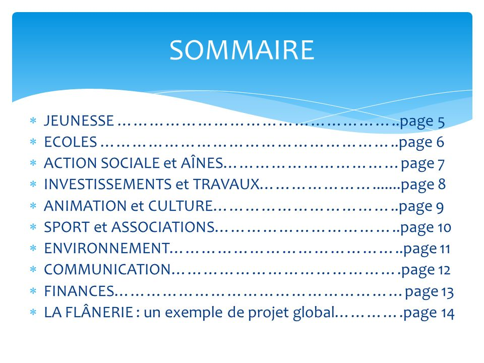 SOMMAIRE JEUNESSE ……………………………………………..page 5