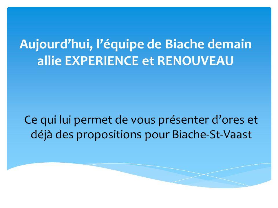 Aujourd'hui, l'équipe de Biache demain allie EXPERIENCE et RENOUVEAU