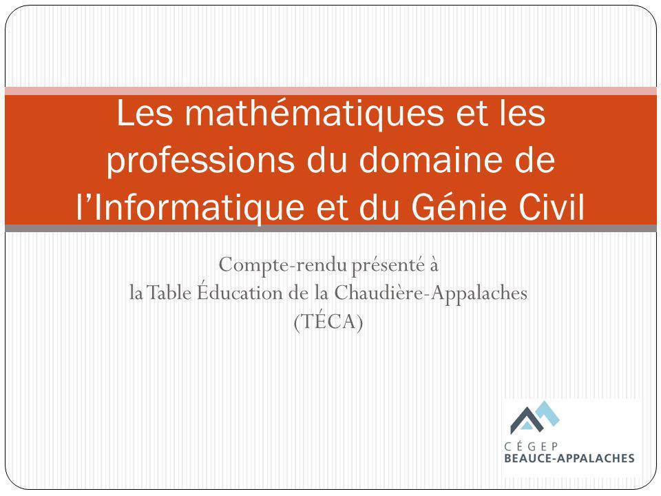 Les mathématiques et les professions du domaine de l'Informatique et du Génie Civil