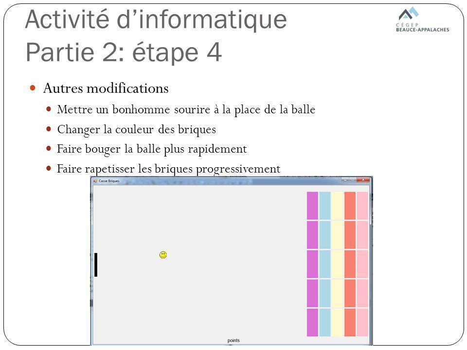 Activité d'informatique Partie 2: étape 4