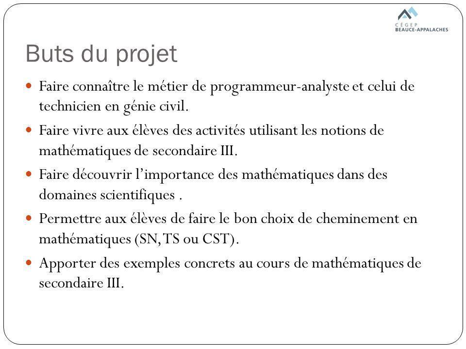 Buts du projet Faire connaître le métier de programmeur-analyste et celui de technicien en génie civil.