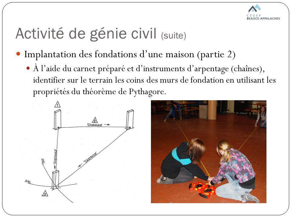Activité de génie civil (suite)