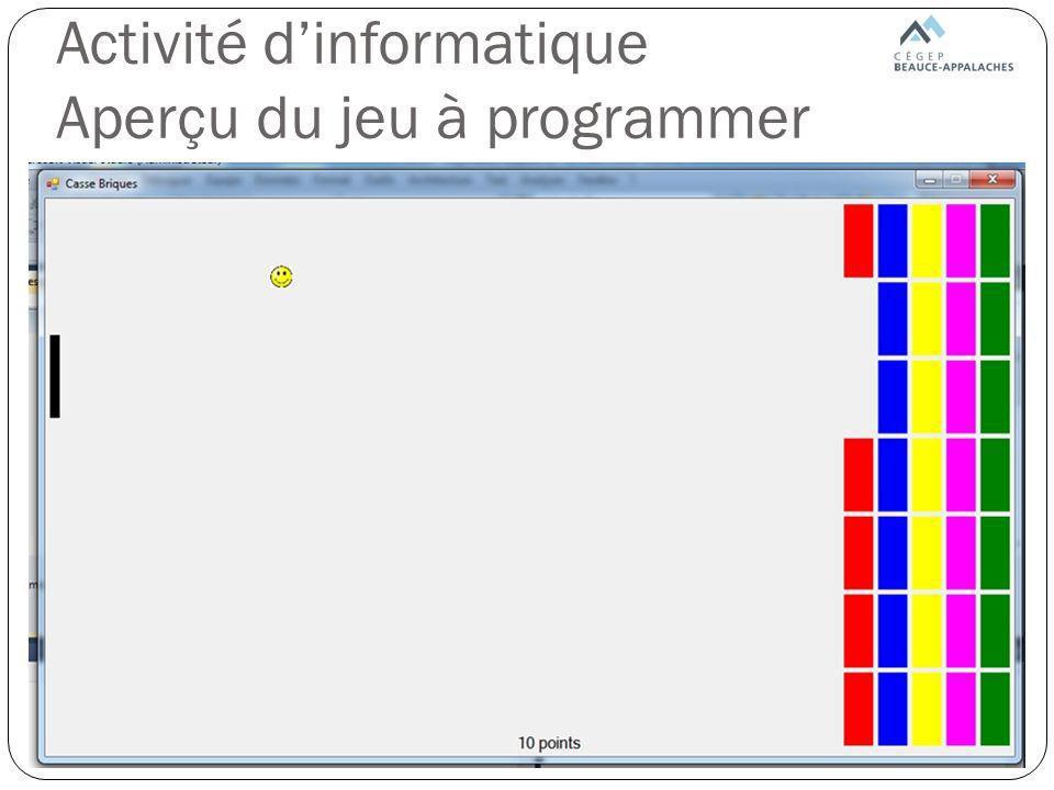 Activité d'informatique Aperçu du jeu à programmer