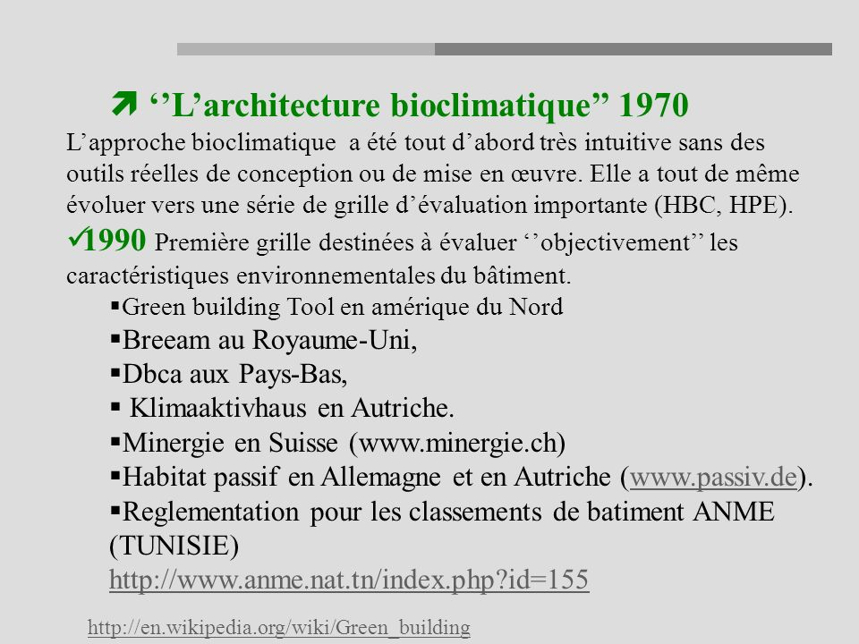''L'architecture bioclimatique'' 1970