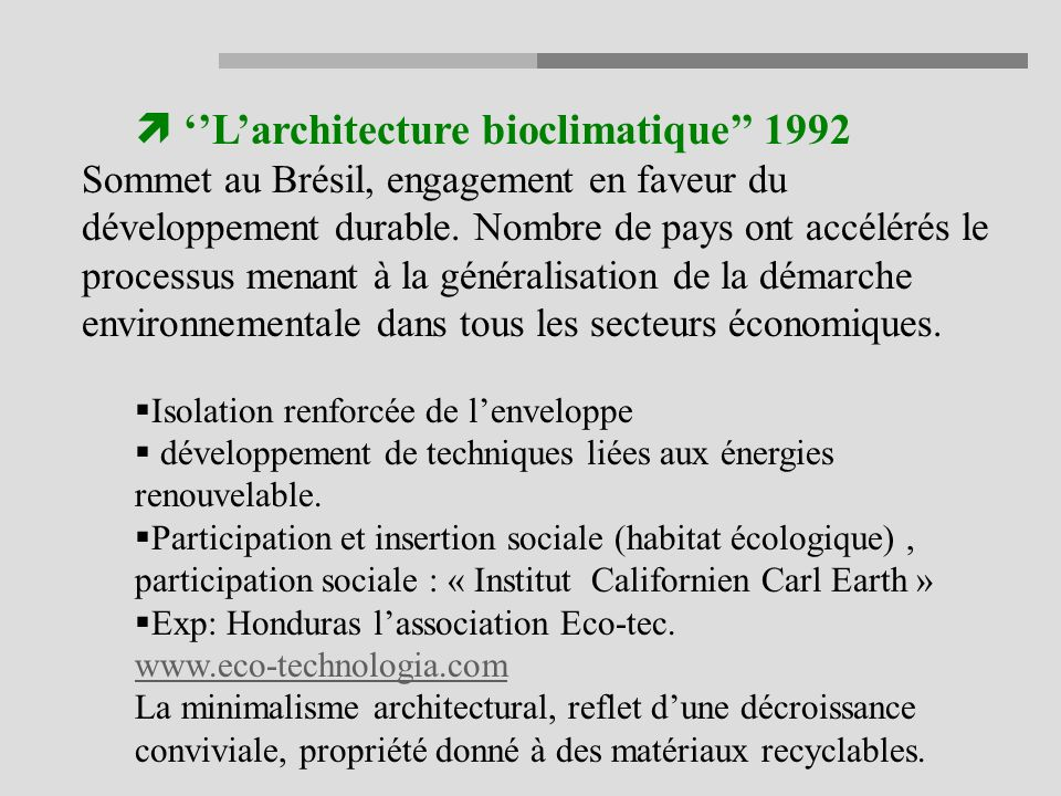 ''L'architecture bioclimatique'' 1992