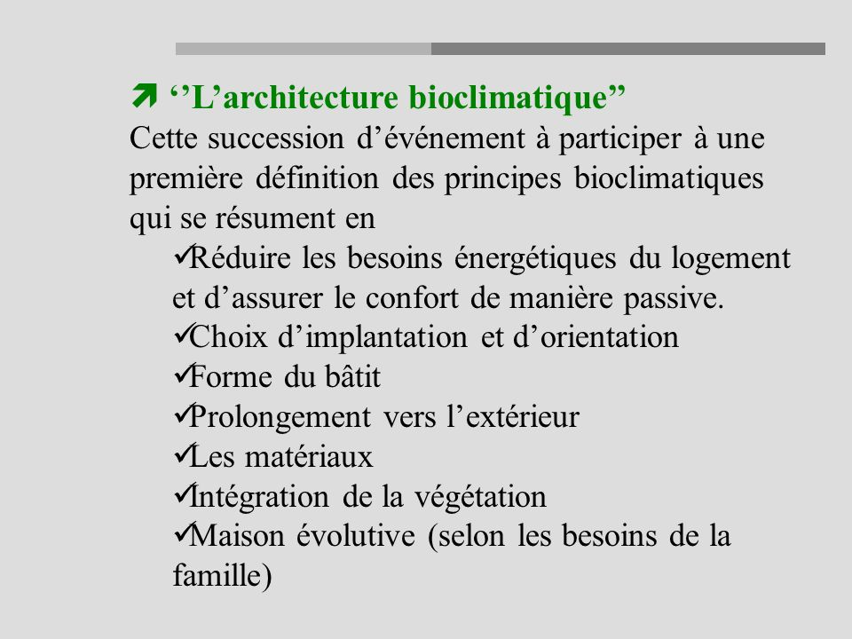 ''L'architecture bioclimatique''