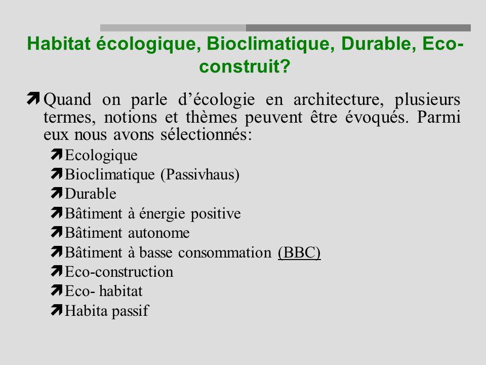 Habitat écologique, Bioclimatique, Durable, Eco-construit