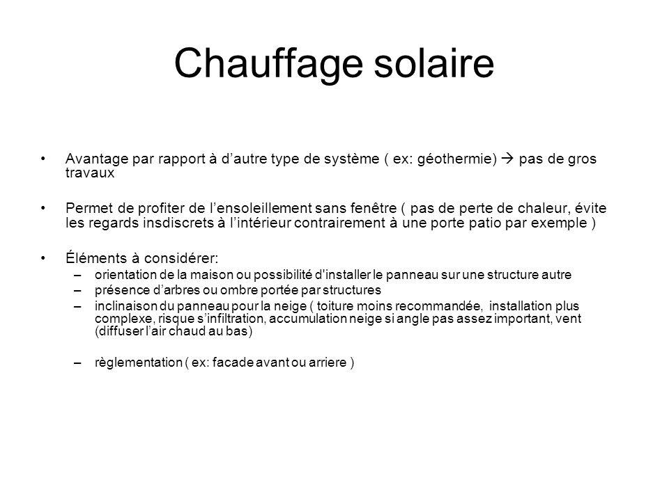 Chauffage solaire Avantage par rapport à d'autre type de système ( ex: géothermie)  pas de gros travaux.