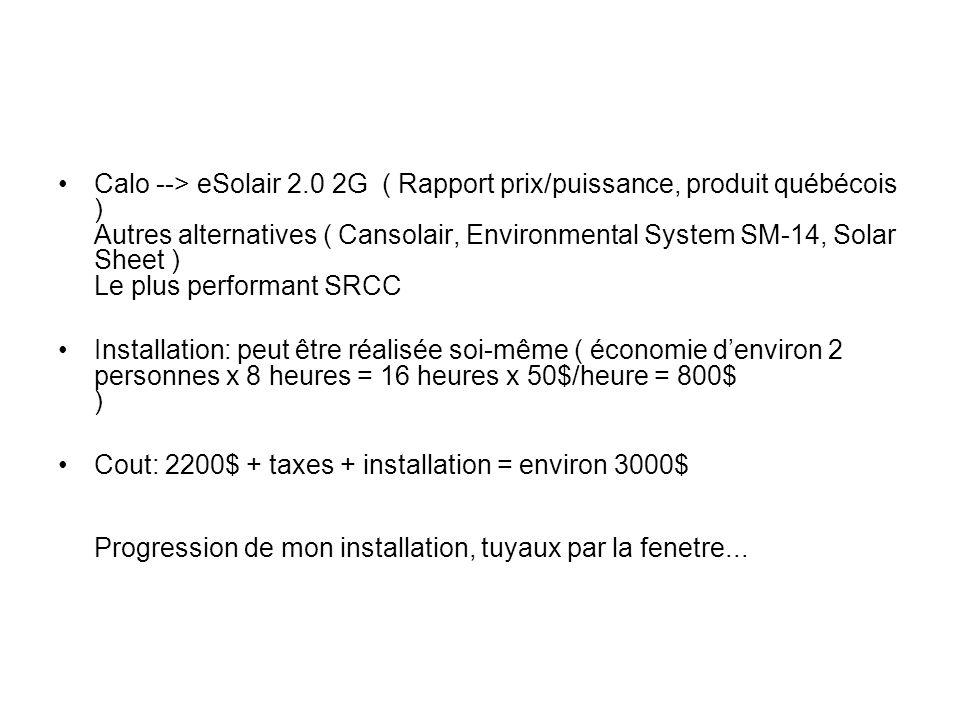 Calo --> eSolair 2.0 2G ( Rapport prix/puissance, produit québécois ) Autres alternatives ( Cansolair, Environmental System SM-14, Solar Sheet ) Le plus performant SRCC