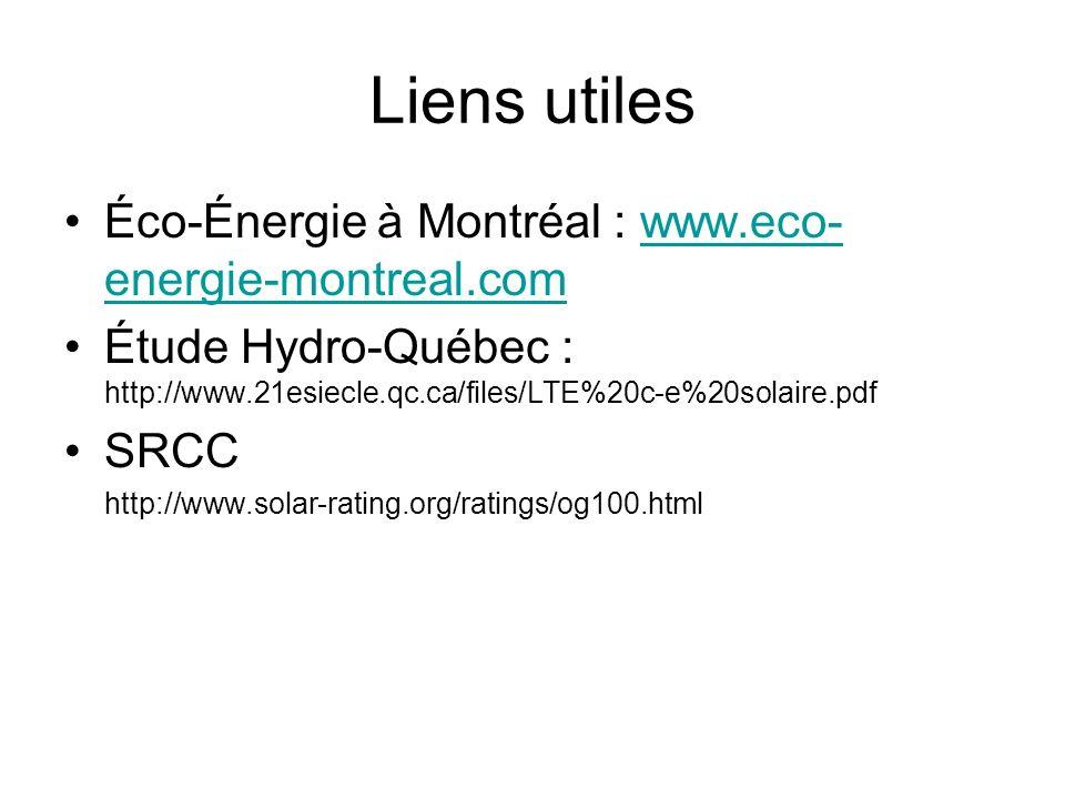 Liens utiles Éco-Énergie à Montréal : www.eco-energie-montreal.com