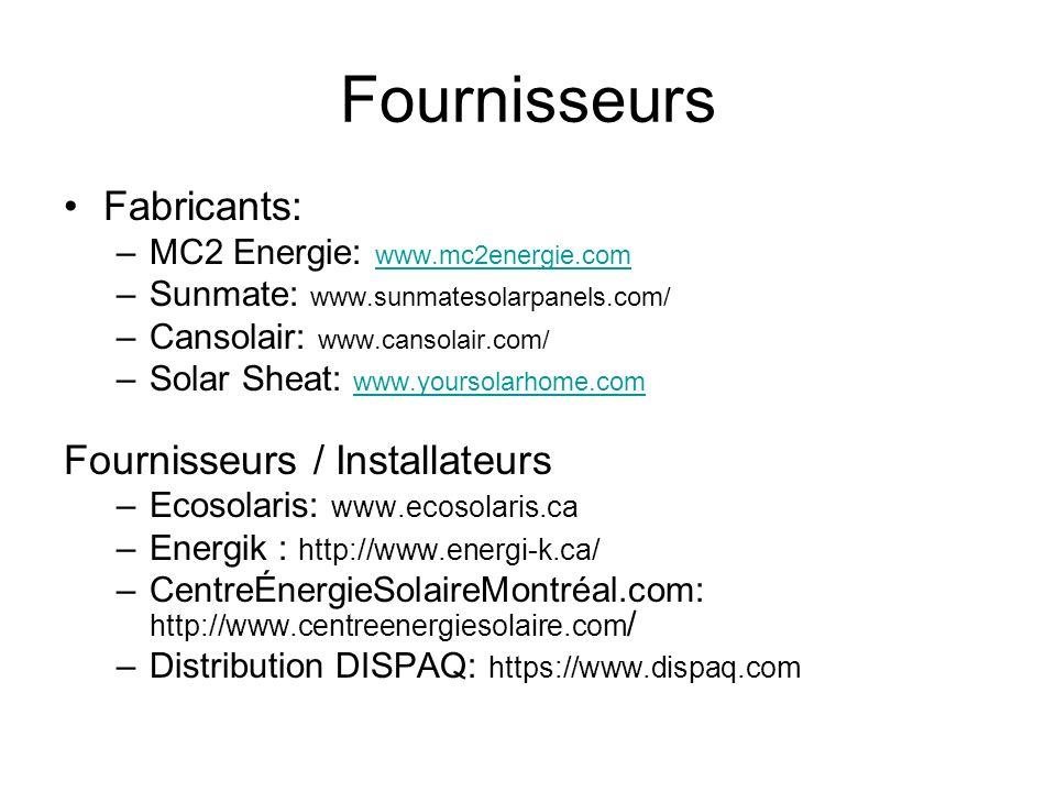 Fournisseurs Fabricants: Fournisseurs / Installateurs