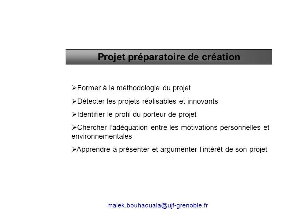 Projet préparatoire de création