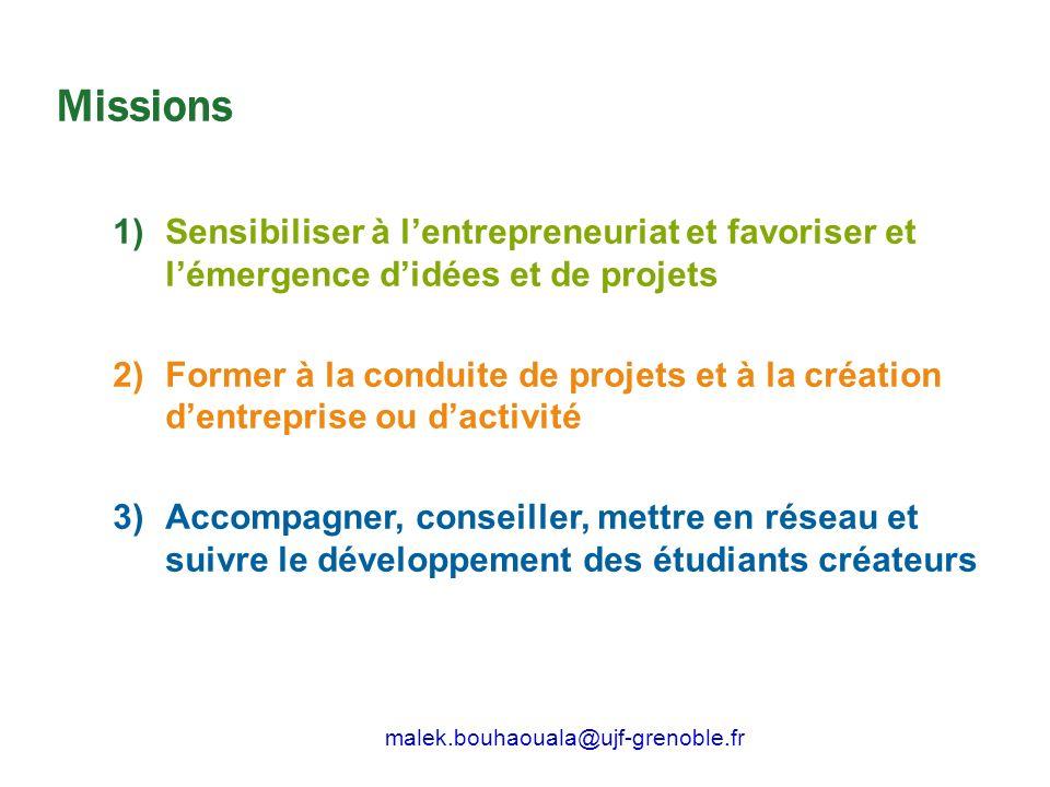 Missions Sensibiliser à l'entrepreneuriat et favoriser et l'émergence d'idées et de projets.