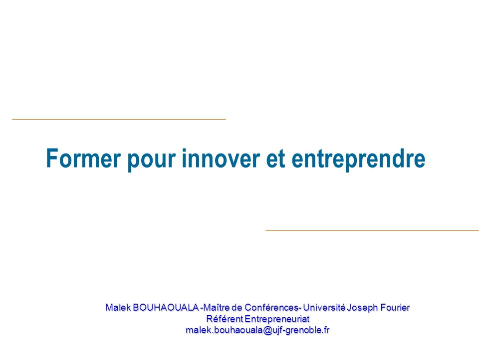 Former pour innover et entreprendre