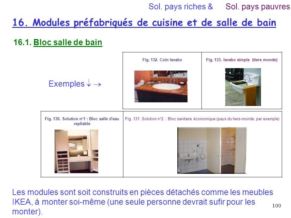 16. Modules préfabriqués de cuisine et de salle de bain