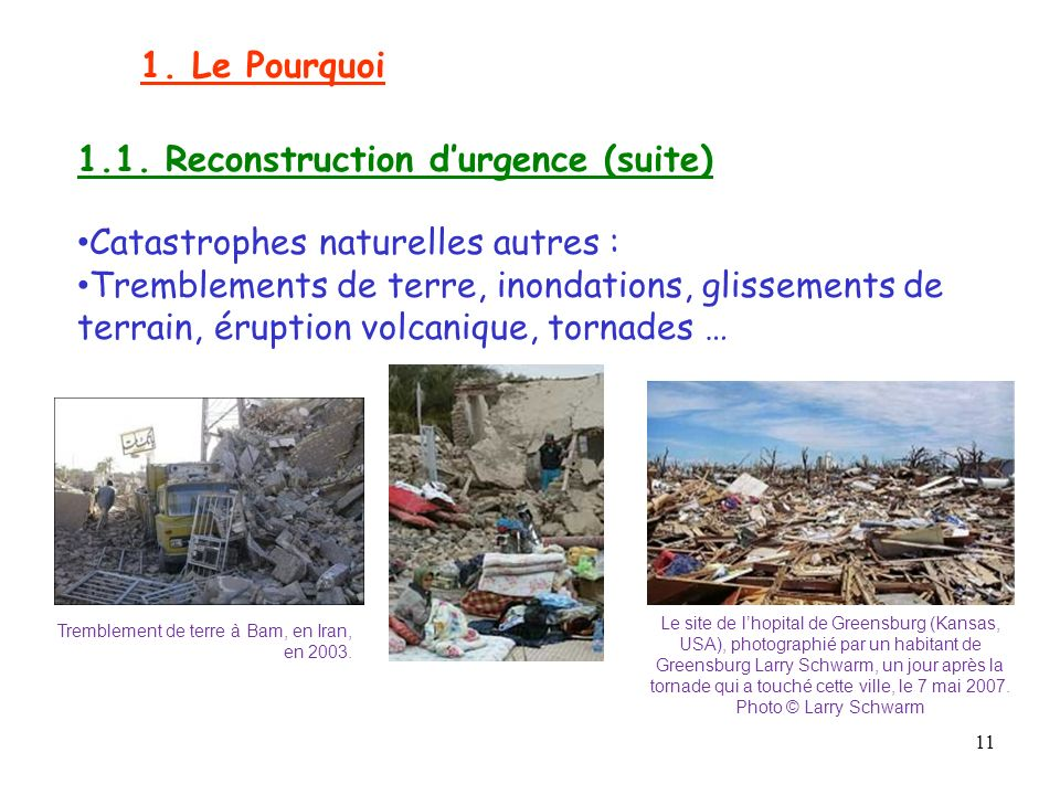 1.1. Reconstruction d'urgence (suite)