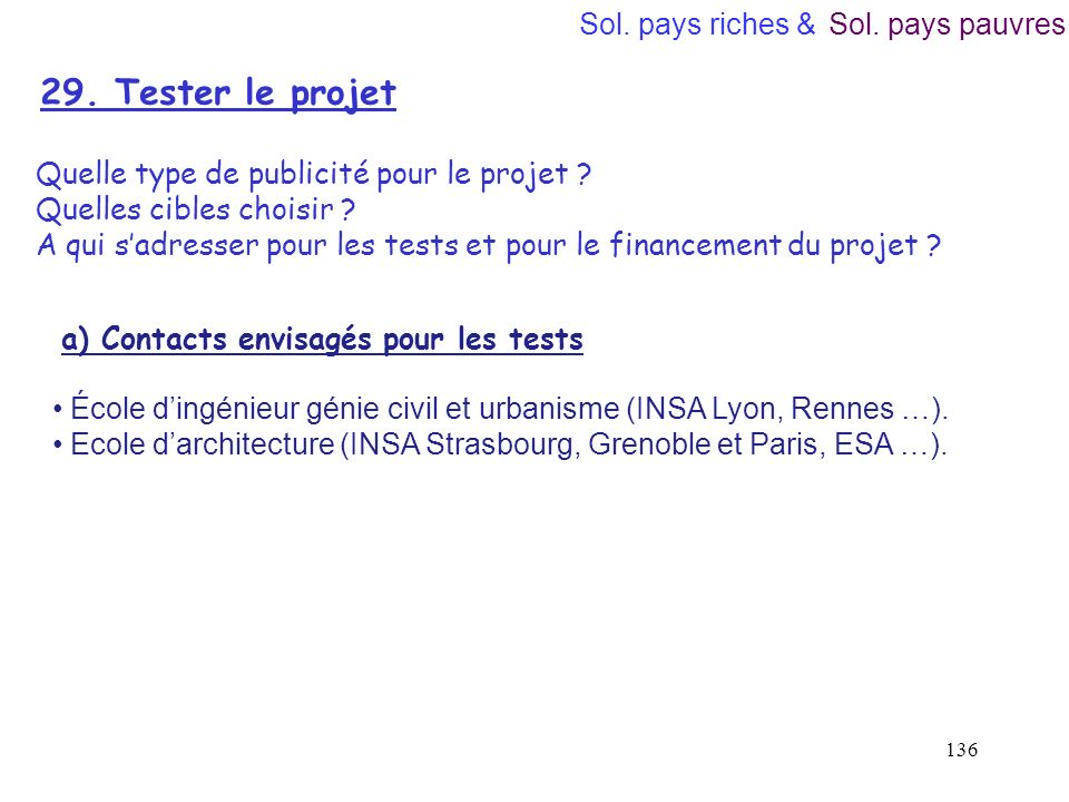 29. Tester le projet Sol. pays riches & Sol. pays pauvres