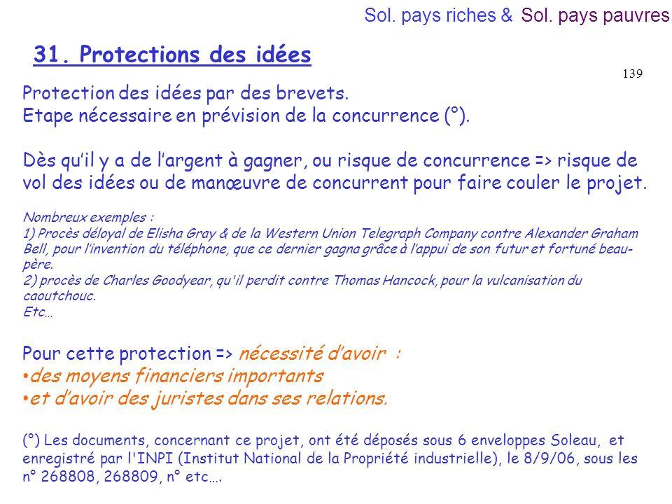 31. Protections des idées Sol. pays riches & Sol. pays pauvres