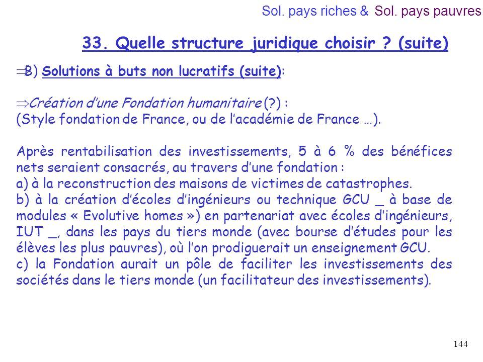 33. Quelle structure juridique choisir (suite)