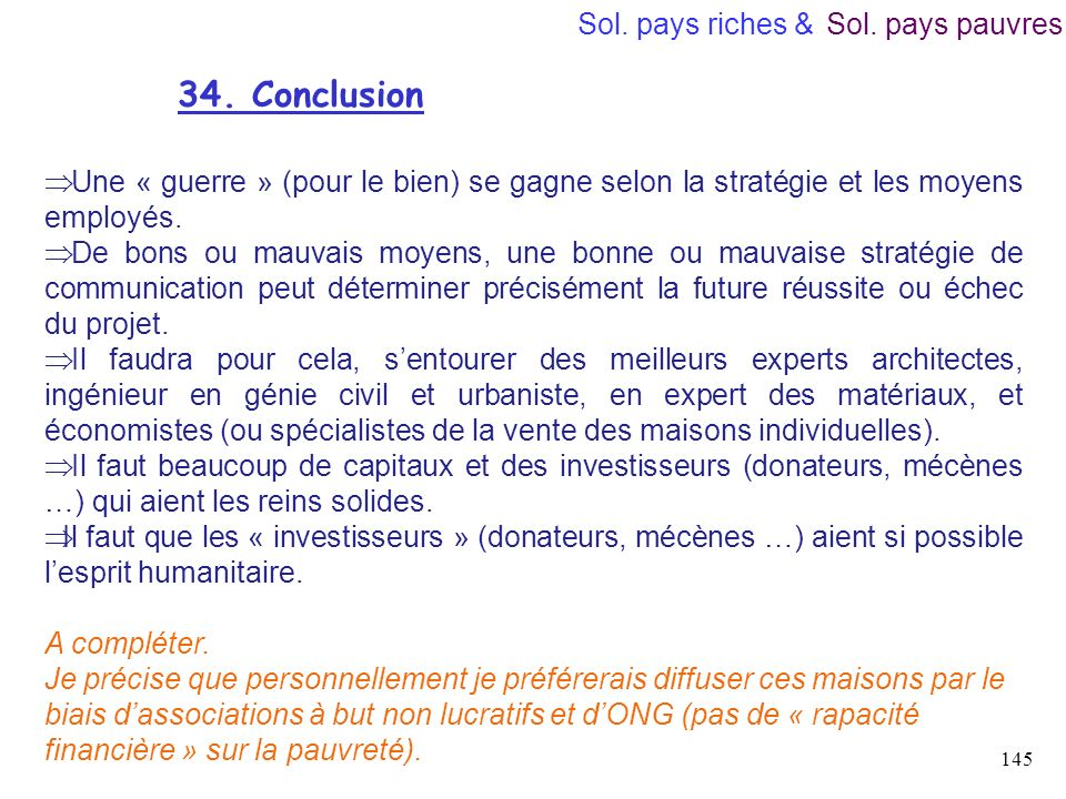 34. Conclusion Sol. pays riches & Sol. pays pauvres